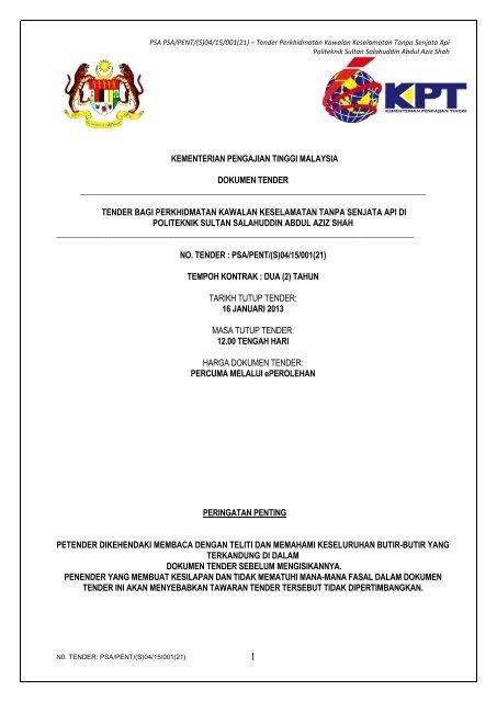 Dokumen Tender Portal Rasmi Politeknik Sultan Salahuddin Abdul