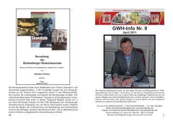 GWH-Info Nr. 9 - GeschichtsWerkstatt Hachenburg e.V.