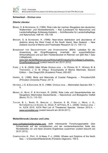 Literatur - Internethandbuch zu den Arten der FFH -Richtlinie ...