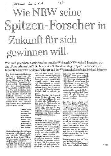 """Welt am Sonntag """"Wie NRW seine Spitenzforscher [...]"""""""