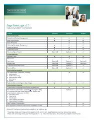 Sage SalesLogix Feature by Edition - BrainSell