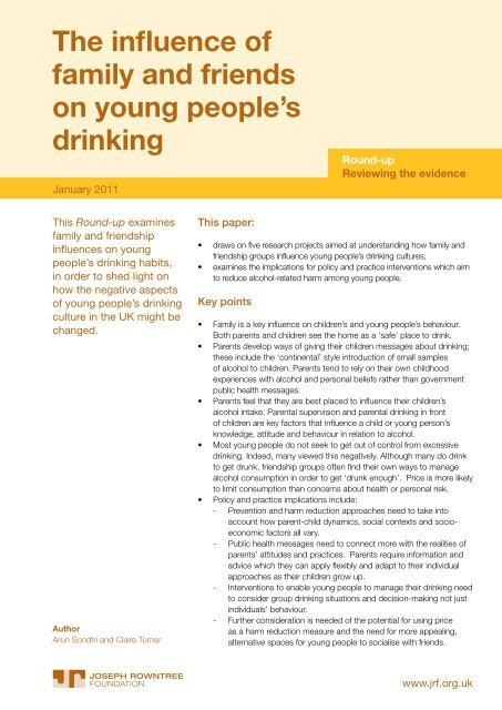 The influence of family and friends on young people's drinking