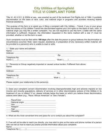 Title Vi Civil Rights Complaint Form Section I Name    Citilink