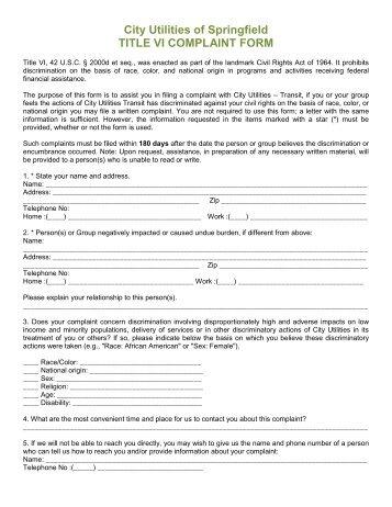 Title Vi Civil Rights Complaint Form Section I Name    Citilink