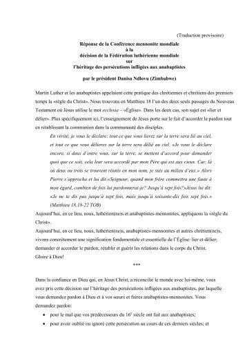 (Traduction provisoire) Réponse de la Conférence ... - LWF Assembly