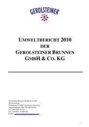 UMWELTBERICHT 2010 DER GEROLSTEINER BRUNNEN GMBH ...