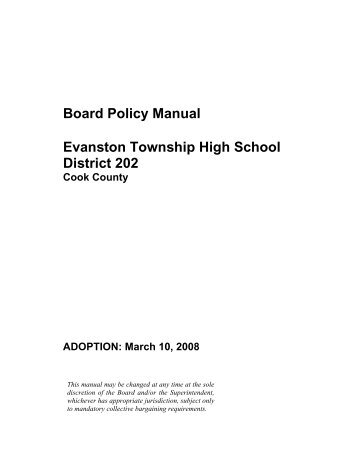 Board Policy Manual Evanston Township High School District 202