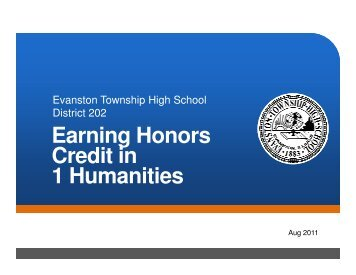 Earning Honors Earning Honors Credit in 1 Humanities - Evanston ...