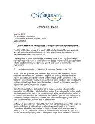 City of Meridian Scholarship Winners Announced