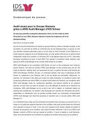 Audit réussi pour le Groupe Siemens grâce à ARIS ... - IDS Scheer AG