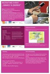 """reCruiting-eVent """"umwelt & energie"""" - A3 Wirtschaftskalender"""