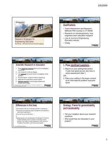 Research Strategies Presentation (PDF) - Virginia Tech Engineering ...