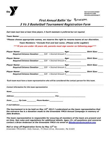 3 On 3 Basketball Tournament Registration Form Template Gungozq