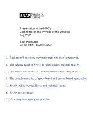 SNAP - Supernova Cosmology Project - Lawrence Berkeley ...