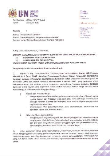 memo: laporan maklum balas jktu 2013 - Jabatan Pendaftar - USM