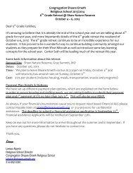 Informational Letter - Congregation Shaare Emeth