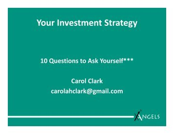 Your Investment Strategy - Angel Capital Association
