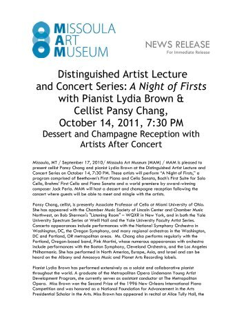 NEWS RELEASE Distinguished Artist Lecture and Concert Series: A ...