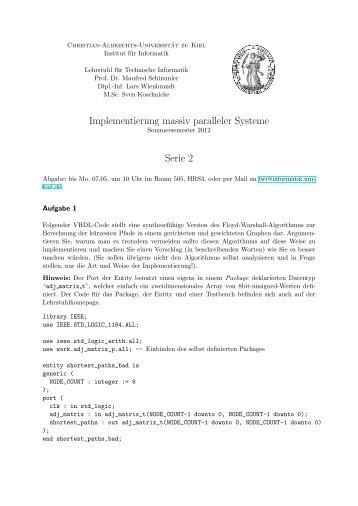 Serie 02 - Institut für Informatik - Christian-Albrechts-Universität zu Kiel