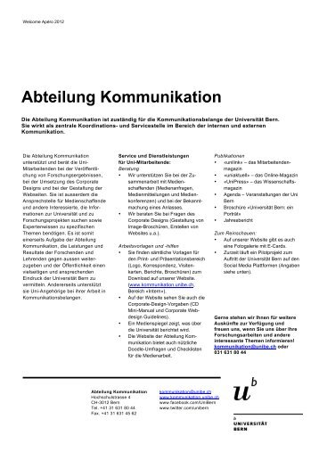 Abteilung Kommunikation (pdf, 153KB) - Universität Bern