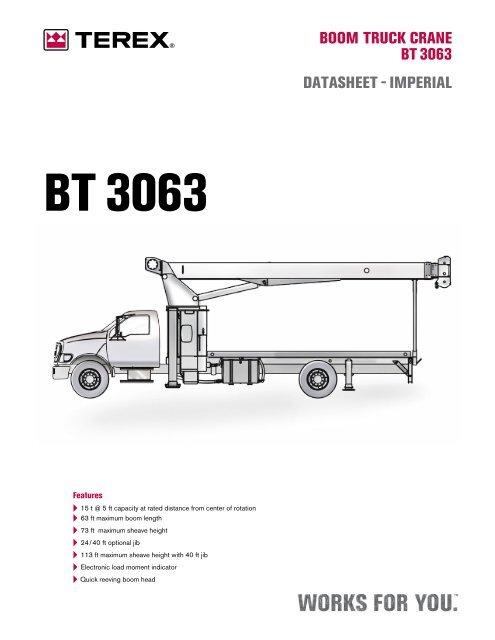 Terex BT3063 Load Chart - Truck Utilities