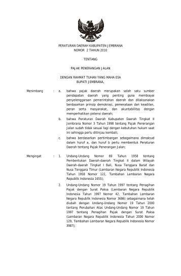 pajak penerangan jalan - Pemerintah Kabupaten Jembrana