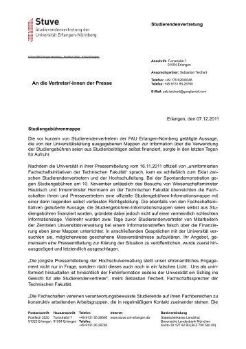 An die Vertreter/-innen der Presse - Stuve Uni Erlangen-Nürnberg