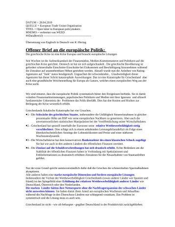 Offener Brief an die europäische Politik: - Dr.Dr. Josef Baum