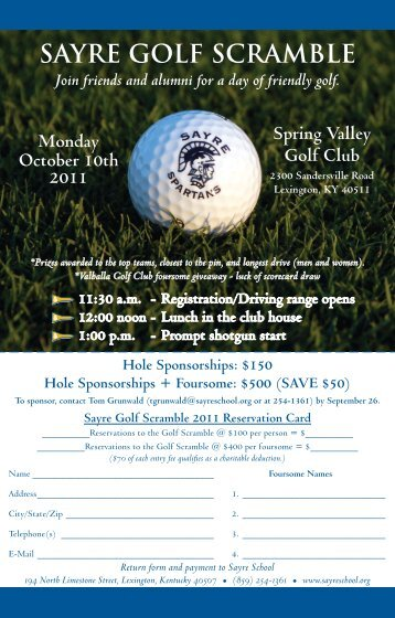 SAYRE GOLF SCRAMBLE - Sayre School
