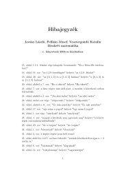 Hibajegyzék az első kiadáshoz - Typotex
