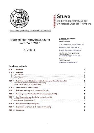 Protokoll der Konventssitzung vom 24.6.2013 - Stuve Uni Erlangen ...