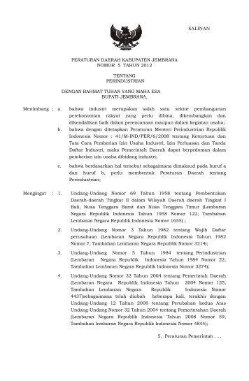 Perda 5 Tahun 2012 Perindustrian - Pemerintah Kabupaten Jembrana