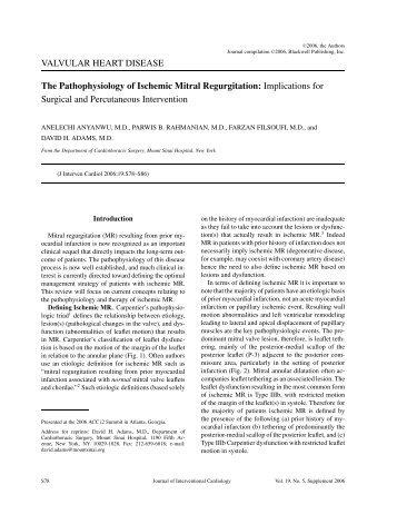 ischemic mitral regurgitation pathophysiology