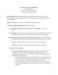 Torpedo Factory Art Center Board Meeting Minutes February 16 ...