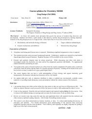 Syllabus for Drug Design Chem 162 - Department of Chemistry and ...