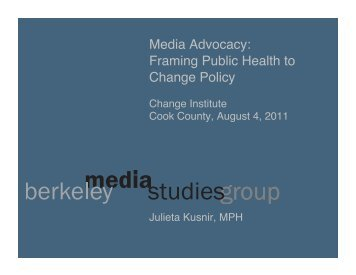 Media Advocacy - Cook County Department of Public Health