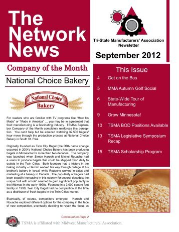 September 2012 - TSMA - Tri-State Manufacturers' Association