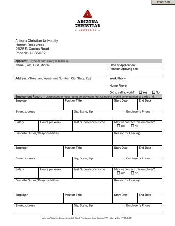 Employment application form for teaching staff gordonstoun staff employment application form arizona christian university altavistaventures Gallery