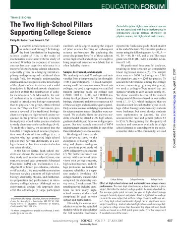 The Two High-School Pillars Supporting College Science - OPAS