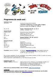 Programme du week-end : - Trial Club Moudon