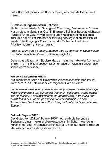 Statement - Stuve Uni Erlangen-Nürnberg