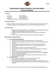 Superstition Harley-Davidson Job Description Service Advisor