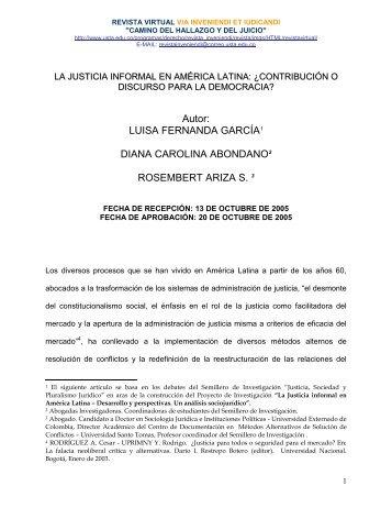 La Justicia Informal en América Latina - Via Inveniendi Et Iudicandi