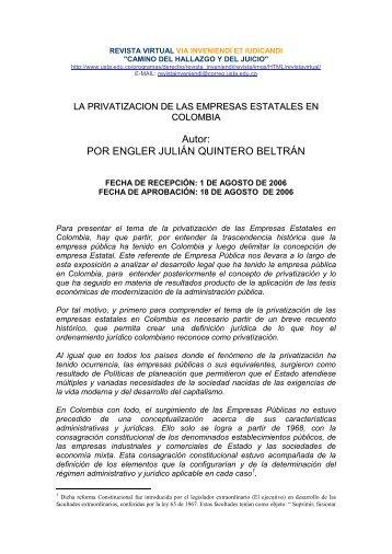 La privatización de las empresas en Colombia - Via Inveniendi Et ...
