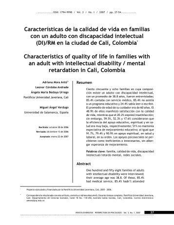 Características de la calidad de vida en familias con un adulto con ...