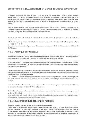 Conditions Générales de Vente en liGne e Boutique Bernardaud