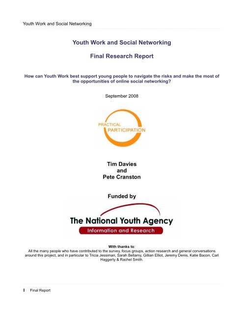 Youth Work and Social Networking - Final Report - Hills Schools ...