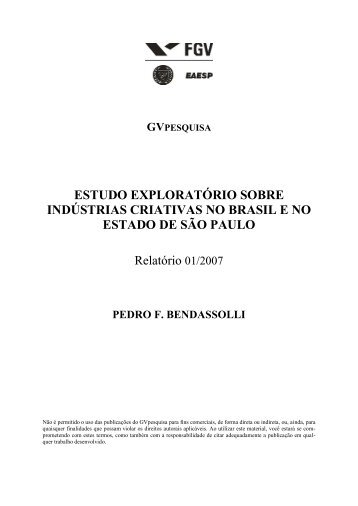 Indústrias criativas no Brasil - Pedro Bendassolli