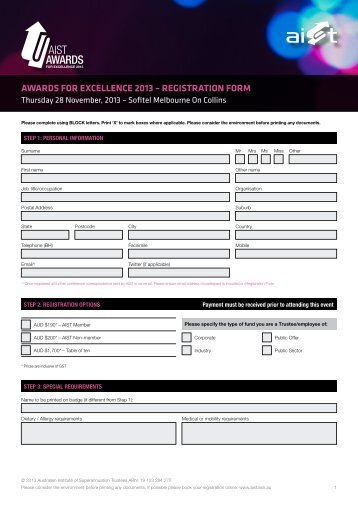 awards for excellence 2013 – registration form - Australian Institute ...