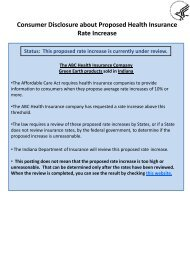 Consumer Disclosure about Proposed Health Insurance Rate Increase
